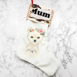 Personalised Polar Bear Sequin Topped Christmas Stocking