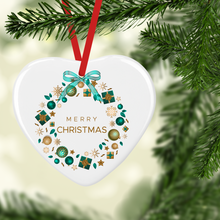 Christmas Wreath of Presents with Name Double Sided Ceramic Round or Heart Christmas Bauble
