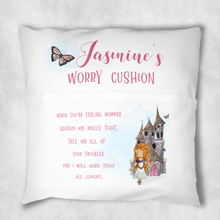 Prince Princess Personalised Pocket Book Cushion Cover White Canvas
