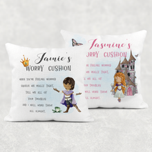 Princess & Prince Personalised Worry Comfort Cushion Linen White Canvas