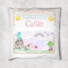Princess Fairytale Personalised Pocket Book Cushion Cover White Canvas