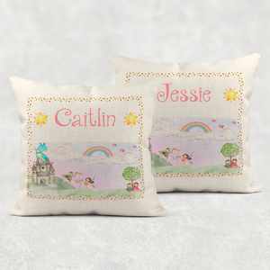 Princess Personalised Worry Comfort Cushion Linen White Canvas