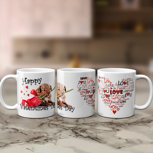 Puppy Love Heart Valentine's Day Mug