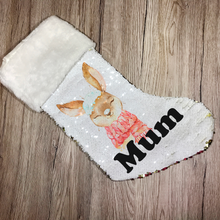 Personalised Snow Rabbit Gold Sequin Christmas Stocking - Christmas - Molly Dolly Crafts