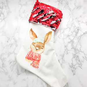 Personalised Snow Rabbit Sequin Topped Christmas Stocking