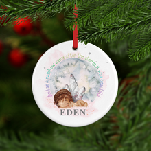 Rainbow Baby Watercolour Personalised Ceramic Round Christmas Bauble