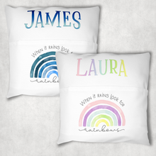 Rainbow Personalised Pocket Book Cushion Cover White Canvas