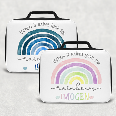Rainbow Pastel/Blue Personalised Insulated Lunch Bag