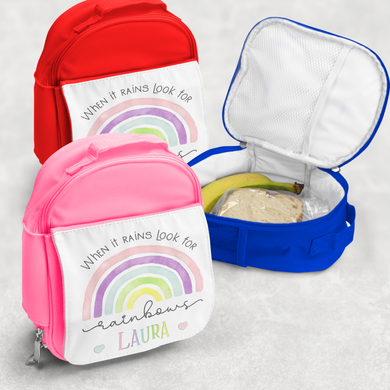 Rainbow Pastel / Blue Personalised Kids Insulated Lunch Bag