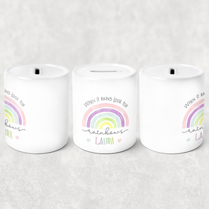Rainbow Pastel/Blue Positive Message Money Savings Pot