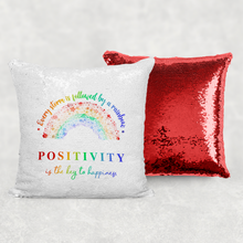 Every Storm is Followed By A Rainbow Positivity is the Key to Happiness Mermaid Sequin Cushion