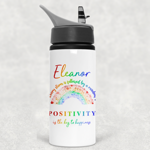 Rainbow After the Storm Positivity is the Key to Happiness Straw Water Bottle 650ml