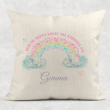 Rainbow Head Up Personalised Cushion Linen White Canvas