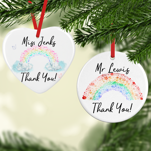 Rainbow Thank You Watercolour Personalised Ceramic Round or Heart Christmas Bauble