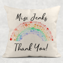Thank You Rainbow Personalised Cushion Linen White Canvas
