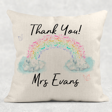 Pastel Rainbow Thank You Personalised Cushion Linen White Canvas