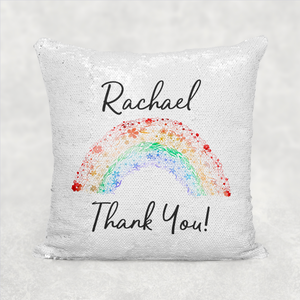 Thank You Rainbow Personalised Mermaid Sequin Cushion