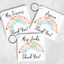 Rainbow Thank You Personalised Square Keyring