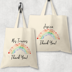 Rainbow Thank You Gift Personalised Tote Bag
