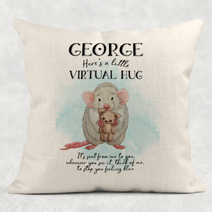 Rat Virtual Hug Isolation Comfort Cushion Linen White Canvas