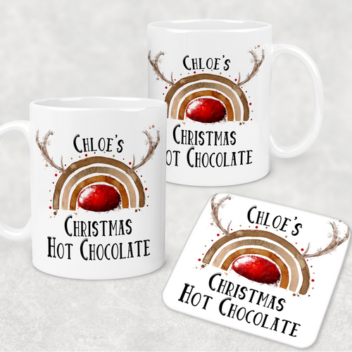 Reinbow Rudolph Rainbow Personalised Christmas Eve Mug and Coaster Set