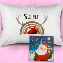 Reinbow Reindeer Rainbow Personalised Christmas Eve Pillow Case & Book
