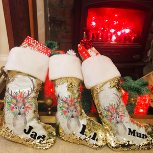 Personalised Floral Reindeer Gold Sequin Christmas Stocking - Christmas - Molly Dolly Crafts