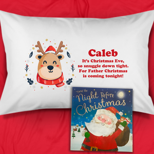 Reindeer Personalised Christmas Eve Pillow Case & Book - Christmas - Molly Dolly Crafts