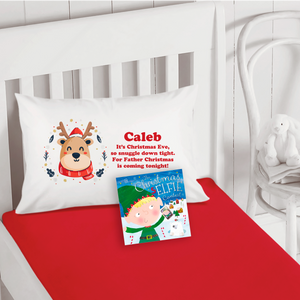Reindeer Personalised Christmas Eve Pillow Case & Book
