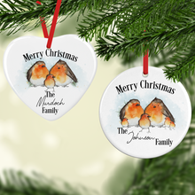 Robin Family Personalised Ceramic Round or Heart Christmas Bauble
