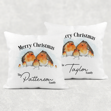 Robin Family Personalised Christmas Cushion Cover Linen White Canvas