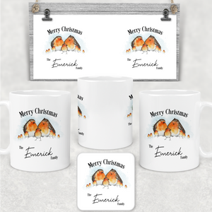 Robin Family Personalised Christmas Eve Mug and Coaster Set