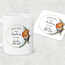 Robins Appear When Loved Ones Are Near Personalised Christmas Mug and Coaster Set
