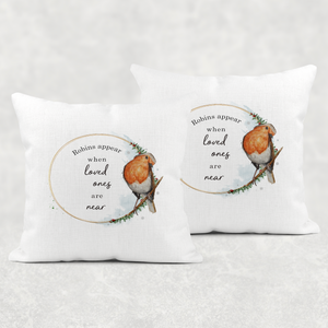 Robins Appear When Loved Ones Are Near Christmas Cushion Cover Linen White Canvas