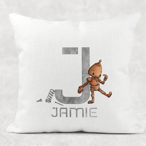 Robot Alphabet Cushion Linen White Canvas