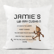 Robot Personalised Worry Comfort Cushion Linen White Canvas