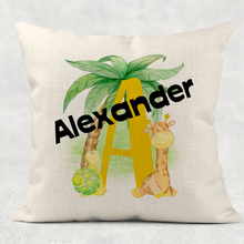 Safari Alphabet Personalised Cushion Linen White Canvas