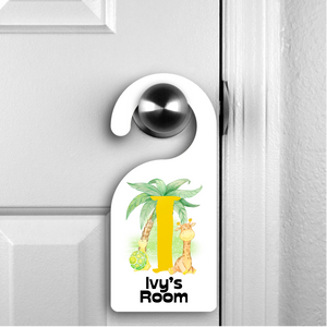 Safari Alphabet Personalised Room Door Hanger