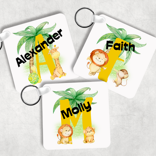 Safari Jungle Alphabet Personalised Keyring Bag Tag