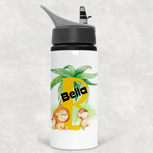 Safari Jungle Alphabet Personalised Straw Water Bottle 650ml
