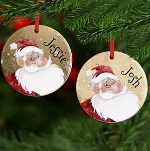 Santa Claus Personalised Ceramic Round or Heart Christmas Bauble