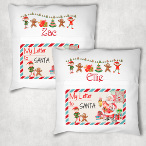 Christmas Letter Festive Personalised Pocket Book Cushion Cover White Canvas