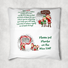 Christmas Letters to Santa Personalised Pocket Book Cushion Cover White Canvas