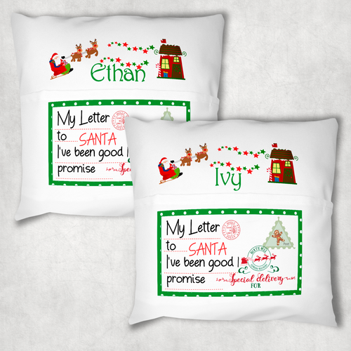 Christmas Letters Sleigh Personalised Pocket Book Cushion Cover White Canvas