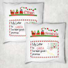 Christmas Letters Train Personalised Pocket Book Cushion Cover White Canvas