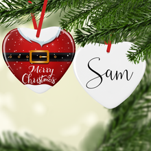 Santa Suit with Name Double Sided Ceramic Round or Heart Christmas Bauble