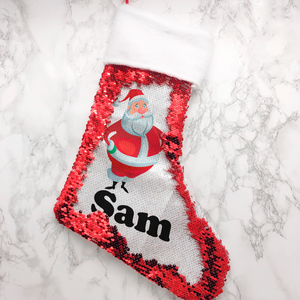 Personalised Santa Fur Topped Sequin Christmas Stocking