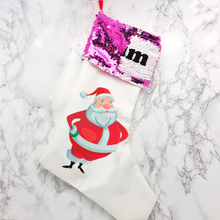 Personalised Santa Sequin Topped Christmas Stocking