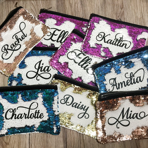 Personalised Mermaid Sequin Pencil Case/Make Up Bag