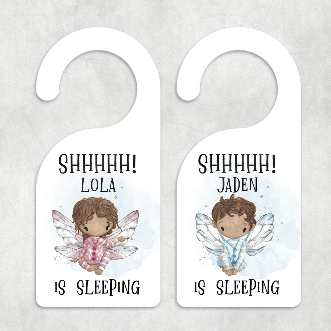 Shh Baby Fairy Sleeping Personalised Room Door Hanger